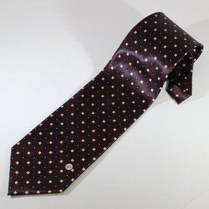 Versace V2 Purple w Square Pattern Silk Tie EUC